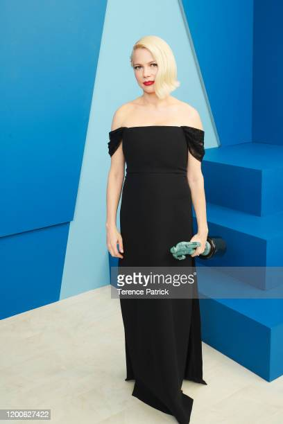 Michelle Williams, winner of the Outstanding Performance by a Female Actor in a Television Movie or Miniseries award for 'Fosse/Verdon,' poses in the...