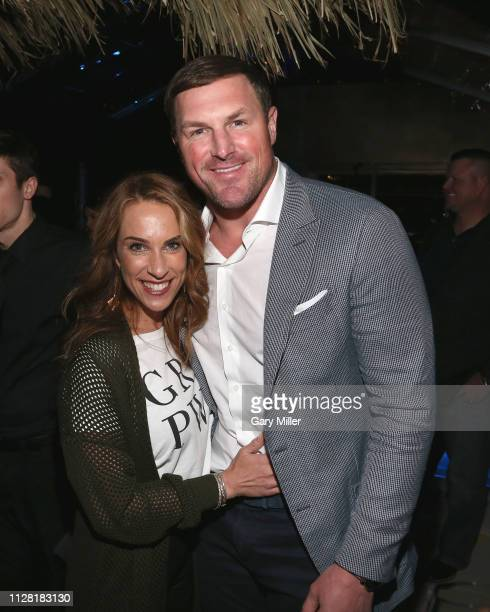 Michelle Witten and Jason Witten attend the KAABOO Texas Welcomes Hampton Water Tasting at The Joule Hotel on February 28 2019 in Dallas Texas
