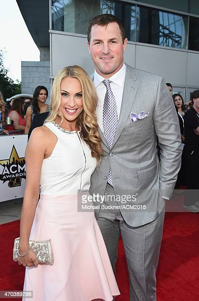 Michelle Witten and Jason Witten of the Dallas Cowboys attend the 50th Academy Of Country Music Awards at ATT Stadium on April 19 2015 in Arlington...