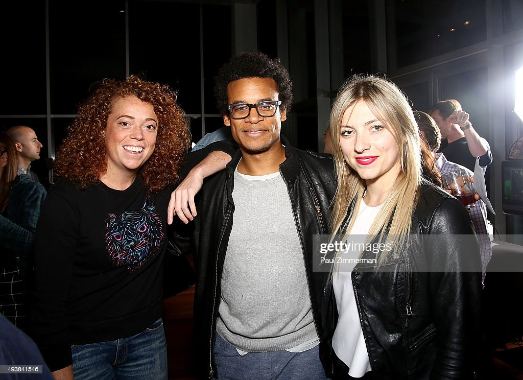 Michelle Wolf (L) and Jordan Carlos (C) attend Comedy Central's The Daily Show with Trevor Noah premiere party event on October 22, 2015 in New York City.