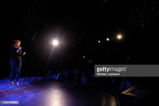 Michelle Wolf performs during the Movement Voter Project comedy benefit at The Bell House on October 24 2018 in the Brooklyn borough of New York City