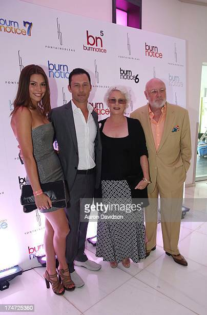 Michelle Woods Jeffrey Donovan Sharon Gless and Barney Rosenzweig arrive at wrap party for Burn Notice at Fontainebleau Miami Beach on July 27 2013...