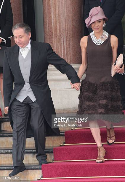 Michelle Yeoh and Jean Todt are seen leaving the Hotol de Paris to attend the religious ceremony of the Royal Wedding of Prince Albert II of Monaco...