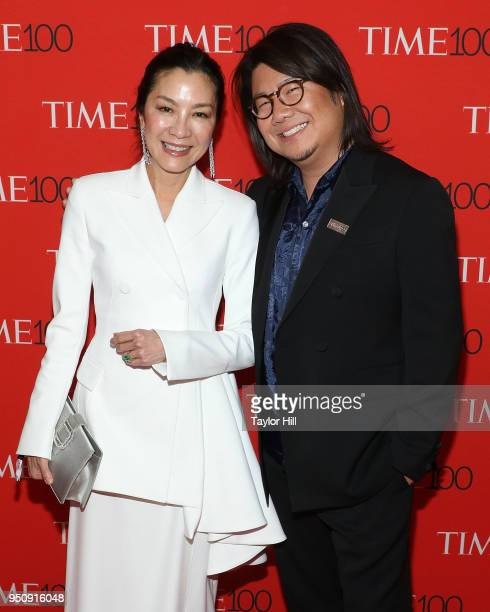 Michelle Yeoh and Kevin Kwan attend the 2018 Time 100 Gala at Frederick P Rose Hall Jazz at Lincoln Center on April 24 2018 in New York City