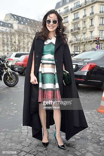 Michelle Yeoh arrives at the Elie Saab fashion show Paris Fashion Week Haute Couture Spring/Summer 2016 on January 27 2016 in Paris France