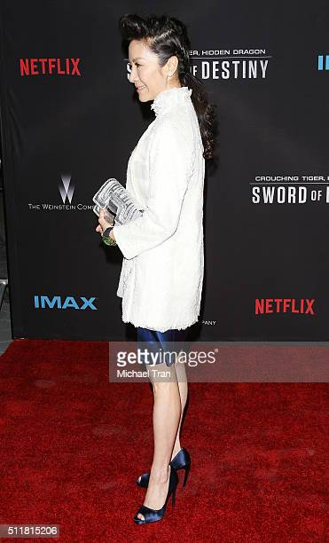 Michelle Yeoh arrives at the premiere of Netflix's Crouching Tiger Hidden Dragon Sword Of Destiny held at AMC Universal City Walk on February 22 2016...