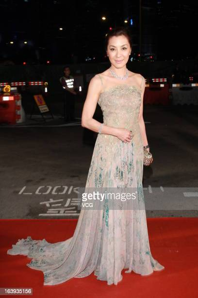 Michelle Yeoh arrives at the red carpet of the 7th Asian Film Awards on March 18 2013 in Hong Kong China