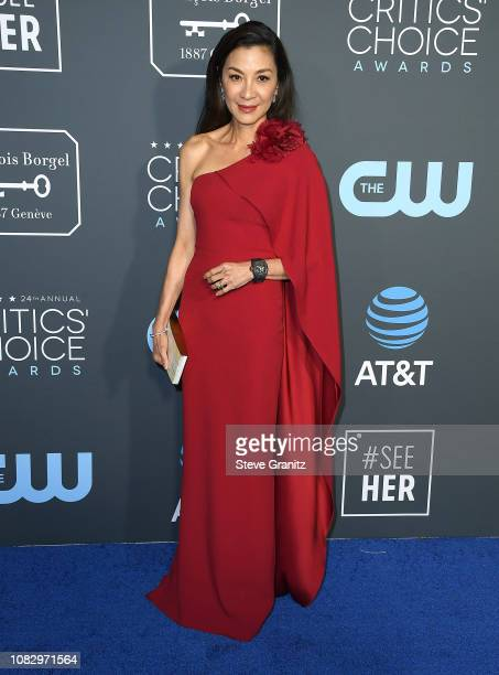 Michelle Yeoh arrives at the The 24th Annual Critics' Choice Awards attends The 24th Annual Critics' Choice Awards at Barker Hangar on January 13...