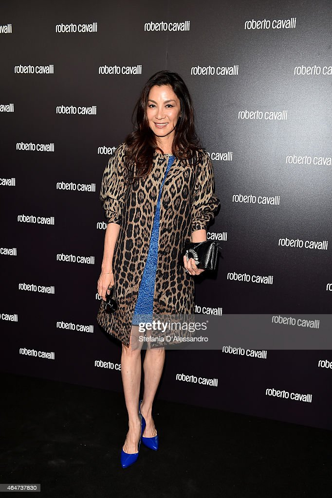 Michelle Yeoh attends the Roberto Cavalli show during the Milan Fashion Week Autumn/Winter 2015 on February 28, 2015 in Milan, Italy.