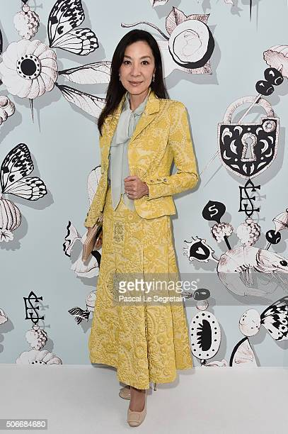 Michelle Yeoh attends the Schiaparelli Haute Couture Spring Summer 2016 show as part of Paris Fashion Week on January 25 2016 in Paris France