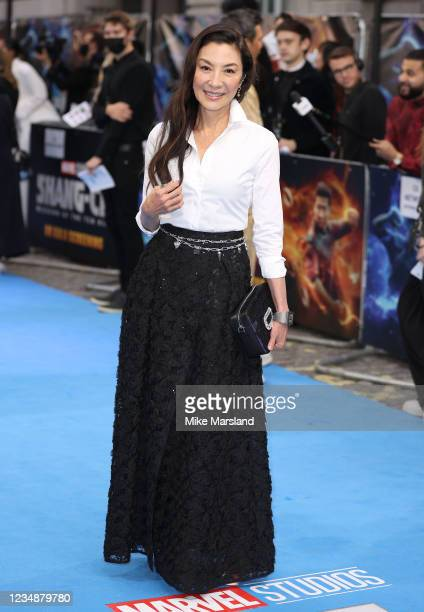 """Michelle Yeoh attends the """"Shang-Chi"""" premiere screening at The Curzon Mayfair on August 26, 2021 in London, England."""