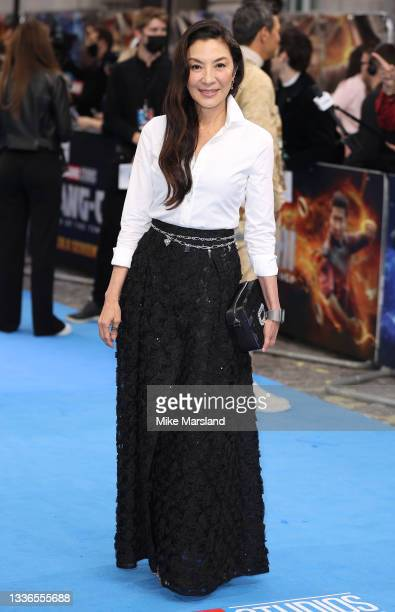 """Michelle Yeoh attends the """"Shang-Chi"""" premiere screening on August 26, 2021 in London, England."""