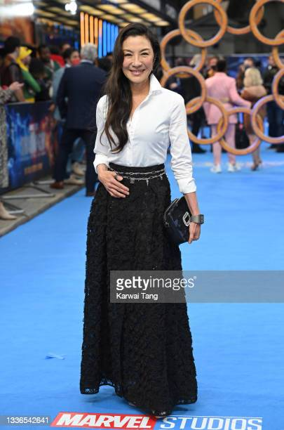 """Michelle Yeoh attends the UK premiere of """"Shang-Chi and the Legend of the Ten Rings"""" at The Curzon Mayfair on August 26, 2021 in London, England."""