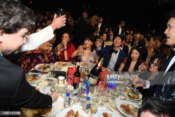 Michelle Yeoh, Constance Wu, Chris Pang, Awkwafina, Harry Shum Jr., and 'Crazy Rich Asians' cast/producers drink a toast at the 24th annual Critics'...