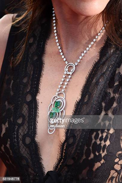 Michelle Yeoh detail attends the Julieta premiere during the 69th annual Cannes Film Festival at the Palais des Festivals on May 17 2016 in Cannes...