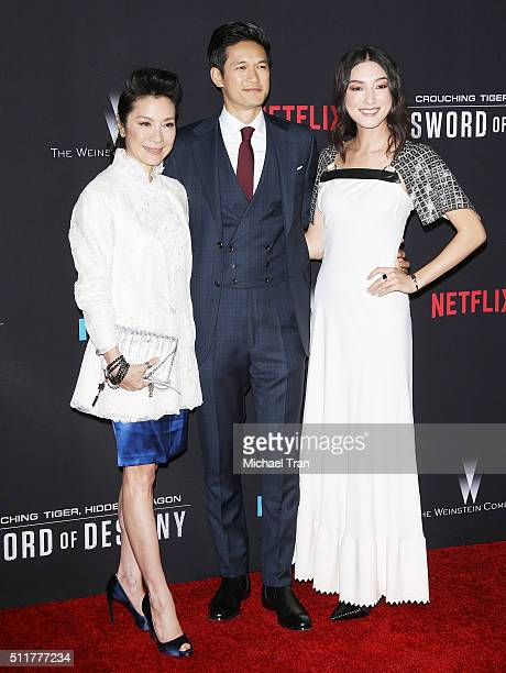 Michelle Yeoh Harry Shum Jr and Natasha Liu Bordizzo arrive at the premiere of Netflix's Crouching Tiger Hidden Dragon Sword Of Destiny held at AMC...