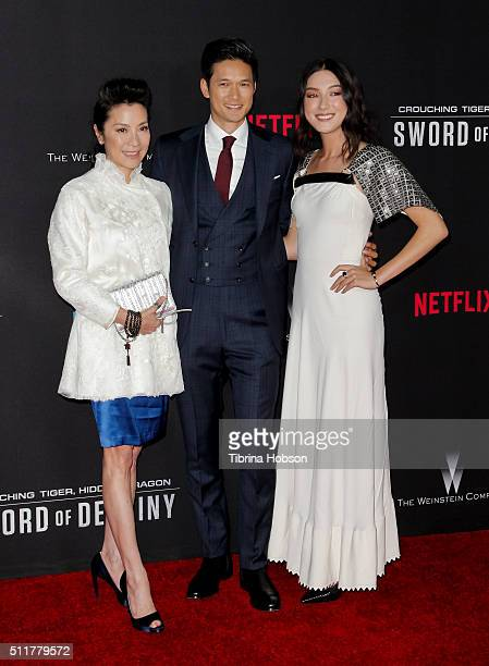 Michelle Yeoh Harry Shum Jr and Natasha Liu Bordizzo attend the Premiere of Netflix's 'Crouching Tiger Hidden Dragon Sword Of Destiny' at AMC...