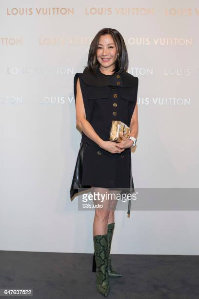 Michelle Yeoh poses at the red carpet during the Louis Vuitton Landmark Maison opening on 02 March 2017, in Landmark Atrium, Hong Kong, China.