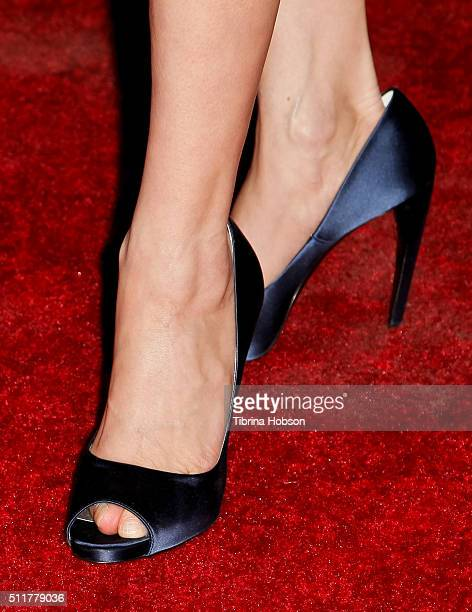 Michelle Yeoh shoe detail attends the Premiere of Netflix's 'Crouching Tiger Hidden Dragon Sword Of Destiny' at AMC Universal City Walk on February...