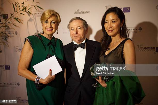 Michelle Yeoh Valerie Wertheimer and Jean Todt attend the Soiree De Gala Action Innocence at Hotel Intercontinental on May 12 2015 in Geneva...