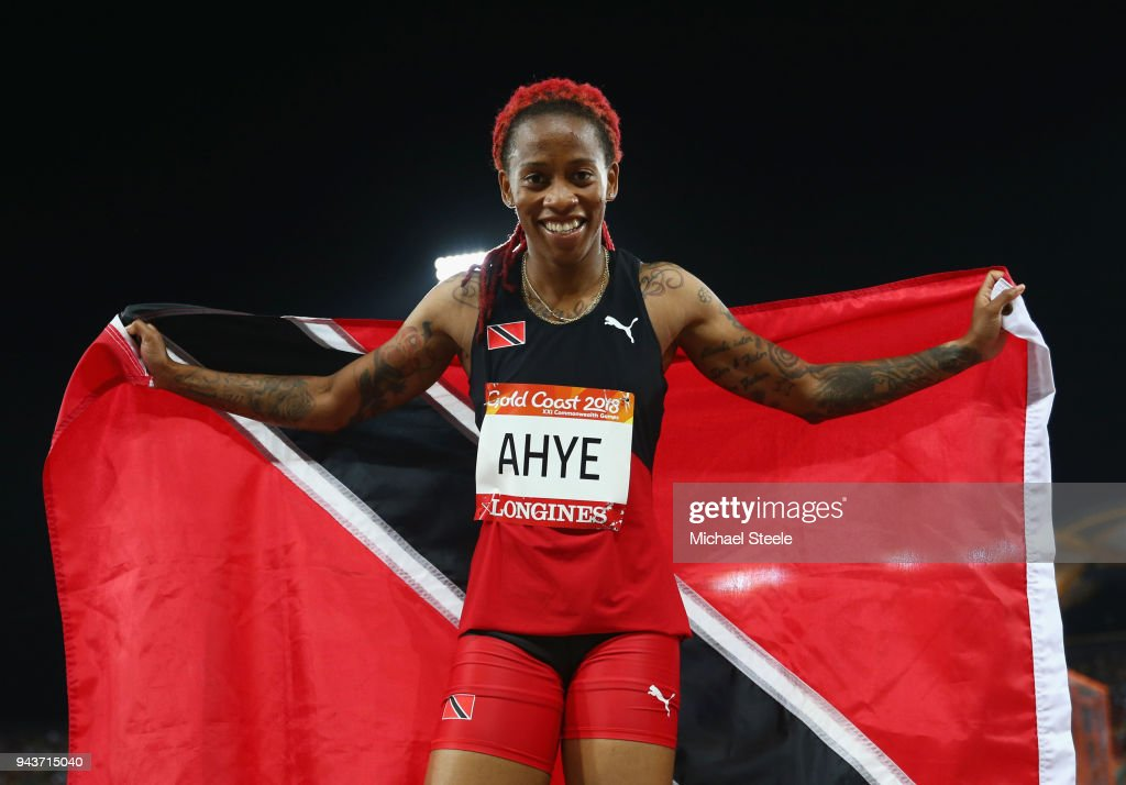Michelle-Lee Ahye of Trinidad and Tobago celebrates winning gold in the Women's 100 metres final during the Athletics on day five of the Gold Coast 2018 Commonwealth Games at Carrara Stadium on April 9, 2018 on the Gold Coast, Australia.