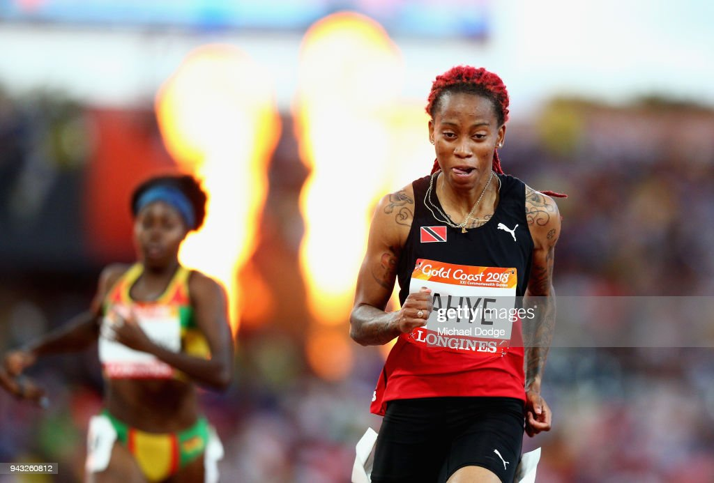 Michelle-Lee Ahye of Trinidad and Tobago competes in the Women's 100 metres semi finals on day four of the Gold Coast 2018 Commonwealth Games at Carrara Stadium on April 8, 2018 on the Gold Coast, Australia.
