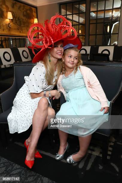 MichelleMarie Heinemann of Old Fashioned Mom Magazine and daughter Hyacinth Cornelia Heinemann pose for photos At Bar Pleiades on May 2 2018 in New...