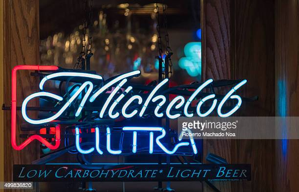 Michelob Ultra beer written in neon glow light inside a bar in New York City USA Michelob is a 5% ABV pale lager developed by Adolphus Busch in 1896...
