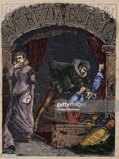 Michelotto Corella executioner of Cesare Borgia strangle the Duke Alfonso of Aragon husband of Lucrezia Borgia in his bed engraving from 'Lucrezia...