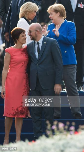 PM Michel's partner Amelie Derbaudrenghien Belgian Prime Minister Charles Michel and REAR French President's wife Brigitte Macron and Chancellor of...
