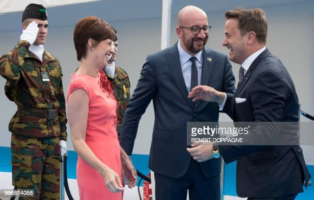 PM Michel's partner Amelie Derbaudrenghien Belgian Prime Minister Charles Michel and Prime Minister of Luxembourg Xavier Bettel greet each other as...