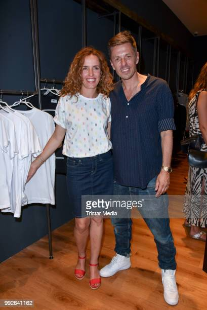 Michi Beck and his wife Ulrike Fleischer during the BECK TO BECK Launch Party PopUpStore Opening on July 3 2018 in Berlin Germany