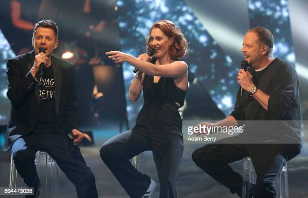 Michi Beck Anna Heimrath and Smudo perform during the 'The Voice of Germany' finals at Studio Berlin Adlershof on December 17 2017 in Berlin Germany