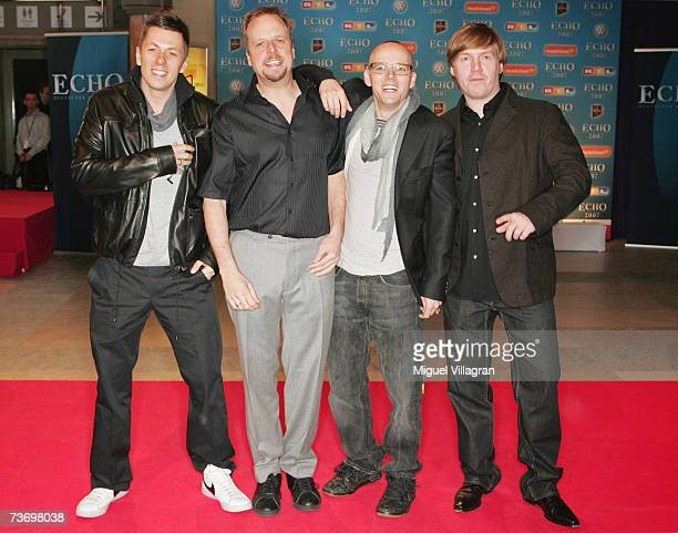 Michi Beck, Smudo, Thomas D, and And.Ypsilon , members of the German rap group Die Fantastischen Vier arrive at the ECHO Music Awards on March 25,...