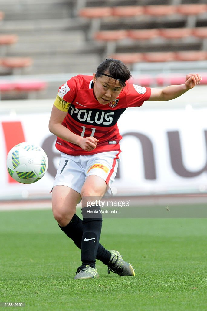 Michi Goto of Urawa Reds in action during the Nadeshiko League match between Urawa Red Diamonds Ladies and Albirex Niigata Ladies at the Saitama Komaba Stadium on April 3, 2016 in Saitama, Japan.
