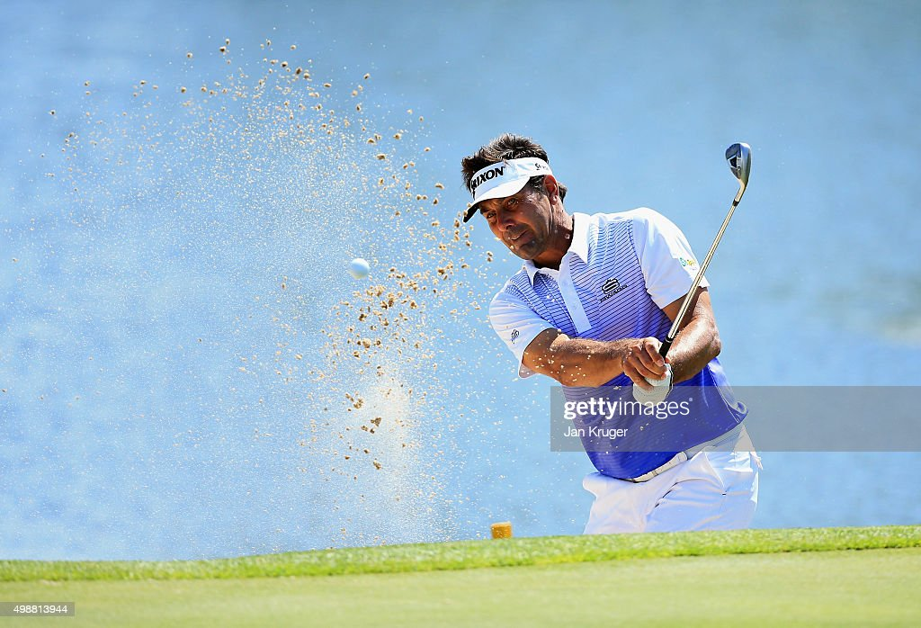 Michiel Bothma of South Africa plays from a bunker on the 9th hole during day one of the Alfred Dunhill Championship at Leopard Creek Country Golf Club on November 26, 2015 in Malelane, South Africa.