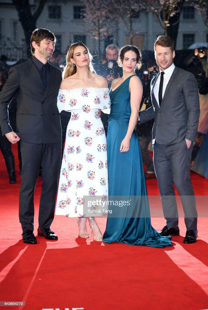 Michiel Huisman, Lily James, Jessica Brown Findlay and Glen Powell attend 'The Guernsey Literary And Potato Peel Pie Society' World Premiere at The Curzon Mayfair on April 9, 2018 in London, England.
