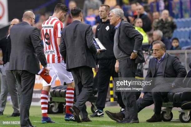 Michiel Kramer of Sparta Rotterdam leaving the field after a red card coach Dick Advocaat of Sparta Rotterdam not happy during the Dutch Eredivisie...
