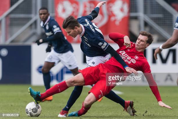 Michiel Kramer of Sparta Rotterdam Peet Bijen of FC Twente during the Dutch Eredivisie match between FC Twente Enschede and Sparta Rotterdam at the...
