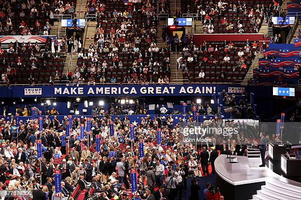 Michigan Attorney General Bill Schuette speaks during the first day of the Republican National Convention on July 18 2016 at the Quicken Loans Arena...