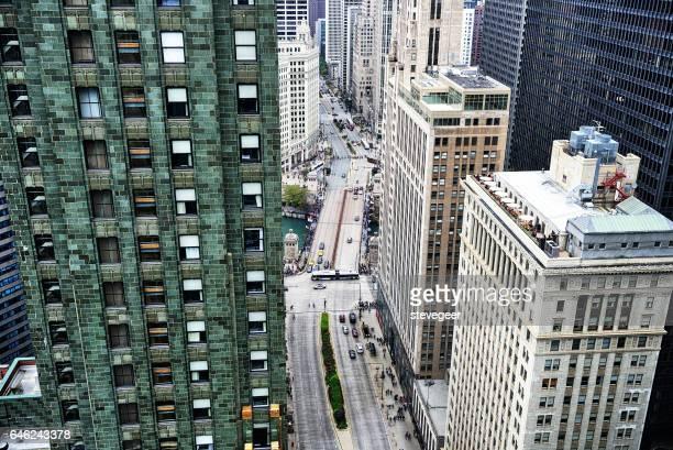 Michigan Avenue und Bridige von oben, Chicago
