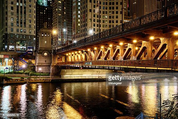 Michigan Avenue Bridge  across the Chicago River at night