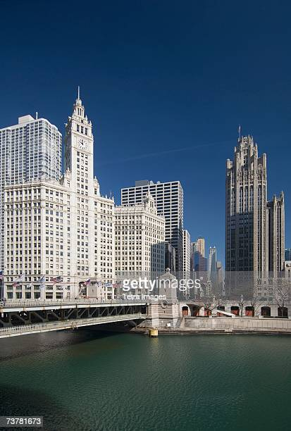 Michigan Avenue Bridge with Tribune Tower and Wrigley Building Chicago Illinois USA