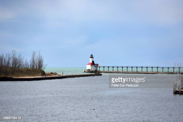 michigan city lighthouse, indiana, usa - indiana stock-fotos und bilder