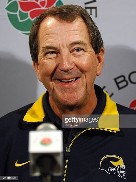 Michigan coach Lloyd Carr at Rose Bowl Media Day at the Home Depot Center in Carson California on Saturday December 30 2006