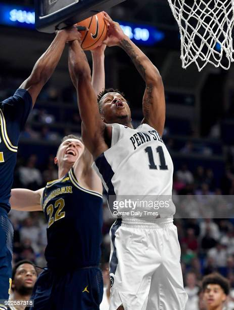 Michigan defenders stop Penn State's Lamar Stevens from a basket on Wednesday Feb 21 at the Bryce Jordan Center in University Park Mich Michigan won...