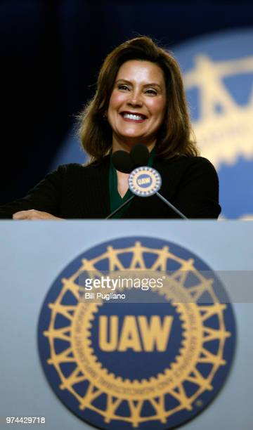 Michigan Democrat Gubernatorial candidate Gretchen Whitmer addresses the 37th United Auto Workers Constitutional Convention June14 2018 at Cobo...