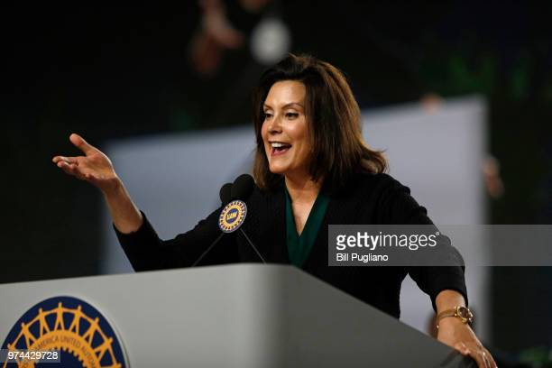Michigan Democrat Gubernatorial candidate Gretchen Whitmer addresses the 37th United Auto Workers Constitutional Convention June14, 2018 at Cobo...