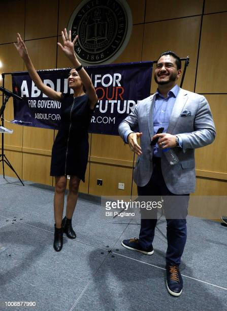 Michigan Democratic gubernatorial candidate Abdul ElSayed campaigns with support from New York Democrat candidate for Congress Alexandria...