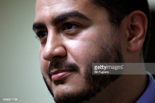 Michigan Democratic gubernatorial candidate Abdul ElSayed speaks with the news media after campaigning with New York Democrat candidate for Congress...